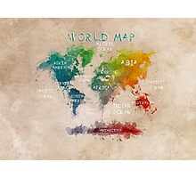 World Map Oceans and Continents Photographic Print