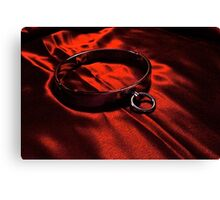 Slave Collar on Scarlet Satin Canvas Print