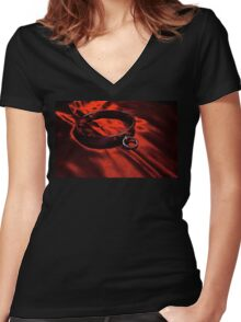 Slave Collar on Scarlet Satin Women's Fitted V-Neck T-Shirt