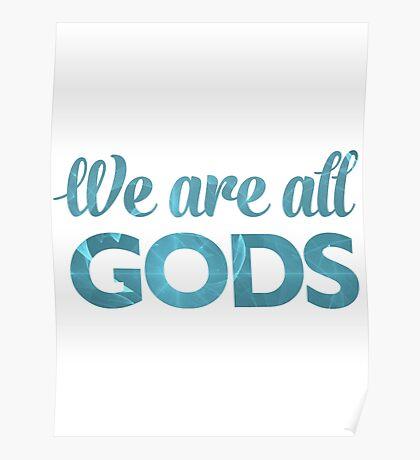 We Are All Gods   Blue Torus   Fractal Art Poster
