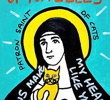 St. Gertrude of Nivelles folk art by krusefolkart