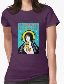 St. Gertrude of Nivelles folk art Womens Fitted T-Shirt