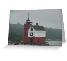 Round Island Light,emerging from the fog Greeting Card