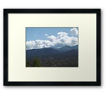 Mountains, Greenery, Clouds, Santa Fe, New Mexico Framed Print