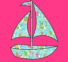 Lilly Pulitzer Inspired Sailboat You Gotta Regatta by mlr28blu