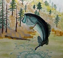 Largemouth Bass Painting by Edmond  Hogge