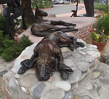 Dog and Horse Sculpture, Sculpture Garden, Canyon Road, Santa Fe, New Mexico by lenspiro