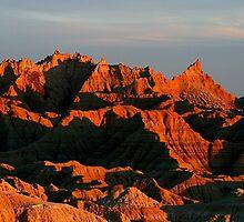 Badlands Sunset Peaks by John Carpenter