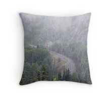 Fog, rain and trailing mist from Lake Superior Throw Pillow