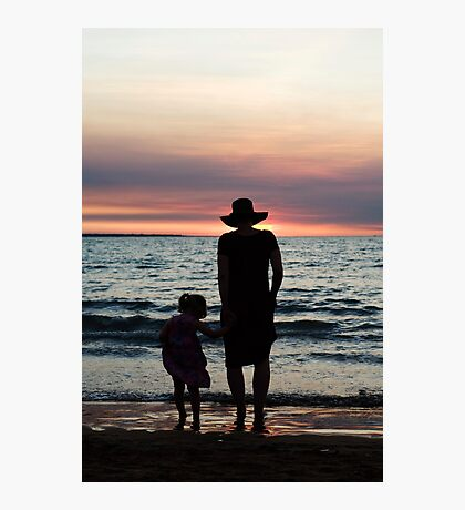 Mother and child - Darwin sunset Photographic Print