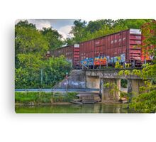 Tagged Train Cars Canvas Print
