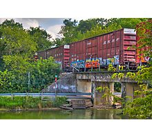 Tagged Train Cars Photographic Print
