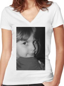 Black & White Portrait Of Young Child Women's Fitted V-Neck T-Shirt