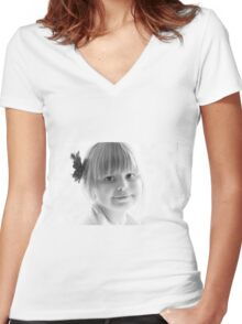 Portrait in Black And White Women's Fitted V-Neck T-Shirt