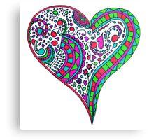 Henna Heart Vibrant Color Heart Mandala Metal Print