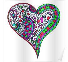 Henna Heart Vibrant Color Heart Mandala Poster
