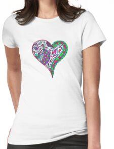 Henna Heart Vibrant Color Heart Mandala Womens Fitted T-Shirt