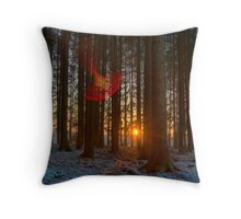 HDR sunset in the forest Throw Pillow