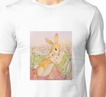 Hungry bunnies among the lettuce Unisex T-Shirt