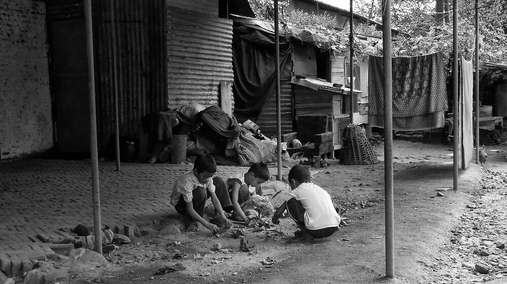 Children at play, Lainchaur. Kathmandu by John Callaway