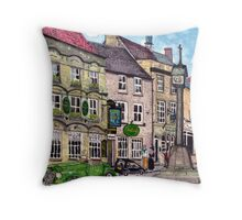 Stow on the Wold market placet, the Talbot Arms Throw Pillow