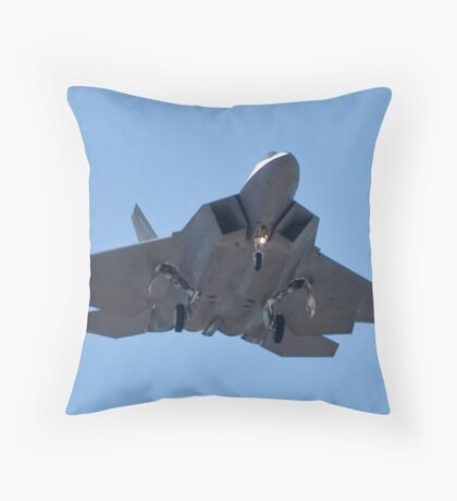 Eye to eye with the F-22 Raptor Throw Pillow