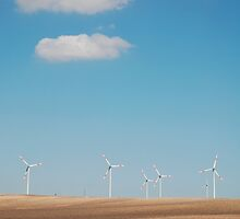 Wind Turbines and Blue Skies  by jojobob