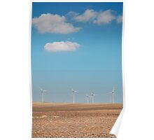 Wind Turbines and Blue Skies  Poster