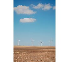 Wind Turbines and Blue Skies  Photographic Print