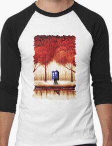 Blue Phone Box Cloud Men's Baseball ¾ T-Shirt