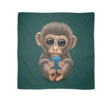 Cute Baby Monkey Holding a Blue Cell Phone  Scarf