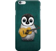 Musical Baby Penguin Playing Guitar Teal Blue iPhone Case/Skin