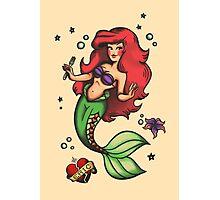 Sail Bait // Little Mermaid Sailor Jerry Retro Tattoo Pattern Photographic Print