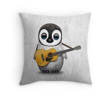 Musical Baby Penguin Playing Guitar White Throw Pillow