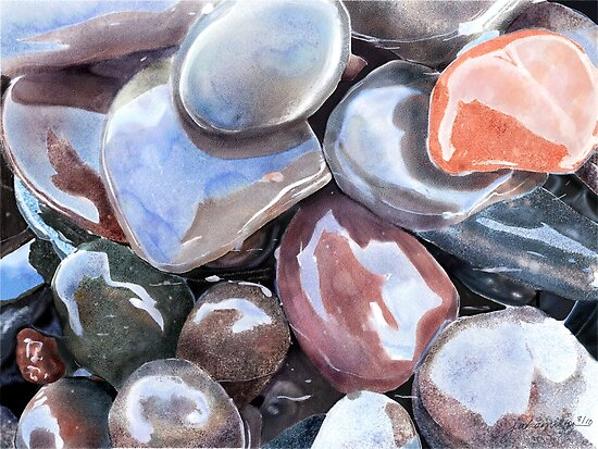 Wave Polished Stones by Joan A Hamilton