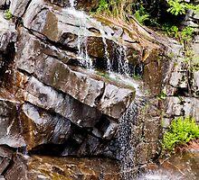 Water flowing down granite rocks in Ticino by Michael Brewer