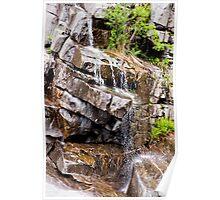Water flowing down granite rocks in Ticino Poster