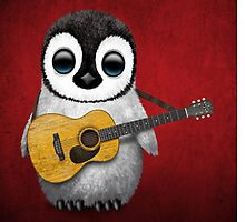 Musical Baby Penguin Playing Guitar Red by Jeff Bartels