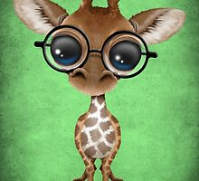 Cute Curious Baby Giraffe Wearing Glasses on Green by Jeff Bartels