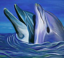Dolphin Dance - Marine Life, Ocean Art by Laura Barbosa