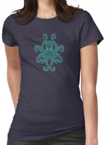 Intricate Teal Blue Octopus Womens Fitted T-Shirt