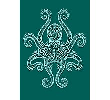 Intricate Teal Blue Octopus Photographic Print