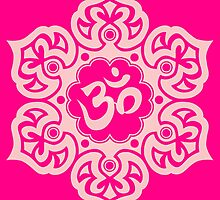 Pink Lotus Flower Yoga Om by Jeff Bartels