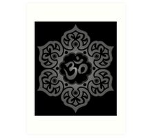 Dark Lotus Flower Yoga Om Art Print
