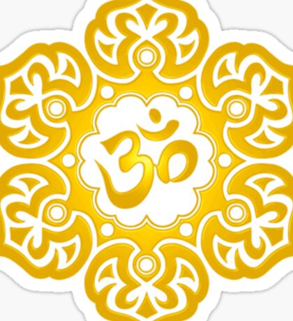 Yellow Lotus Flower Yoga Om Sticker
