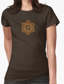 Brown Lotus Flower Yoga Om Womens Fitted T-Shirt