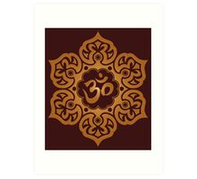 Brown Lotus Flower Yoga Om Art Print