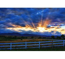 Country Landscape with Sun Beams at Sunset Photographic Print