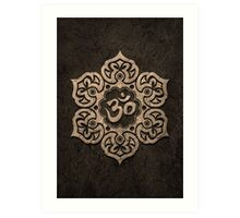 Aged Stone Lotus Flower Yoga Om Art Print