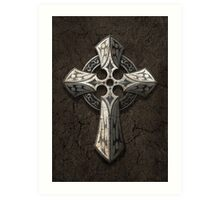 Rough Stone Gothic Cross with Tribal Inlays  Art Print